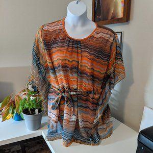Orange and Blue Flowy Tunic top - Size 3X